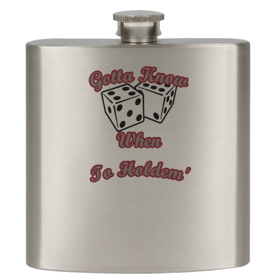 """""""Know When To Holdem"""" Silver/Stainless Drinking Flask"""