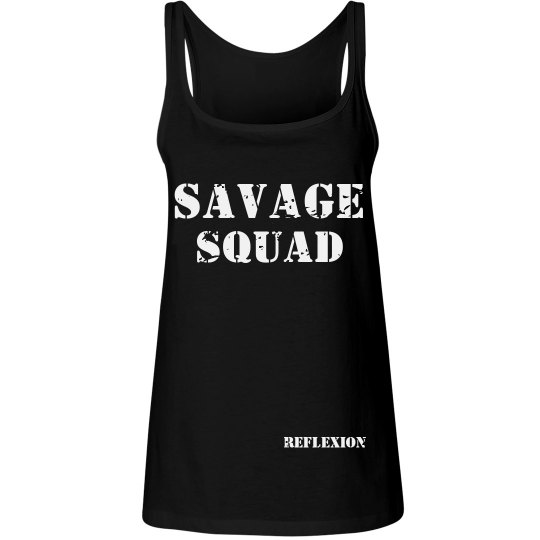 Ladies Relaxed Fit Savage Squad Distressed Tank