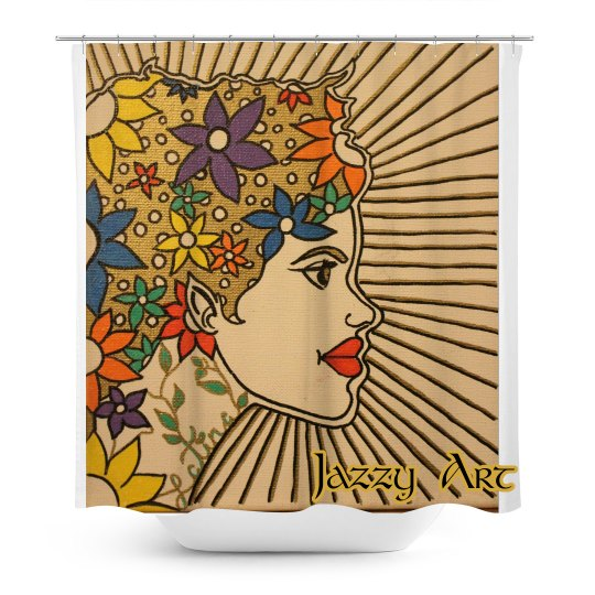 Latina Shower Curtain-Jazzy Art