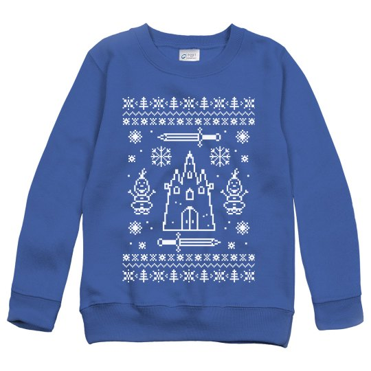 Let It Go Cute Snowman & Ice Castle Ugly Sweater Youth