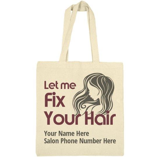 Let Me Fix Your Hair salon promotional tote bag