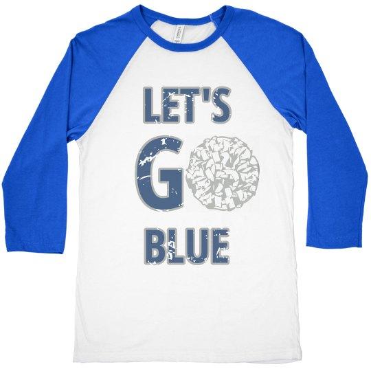 Let's Go Blue cheerleading tee