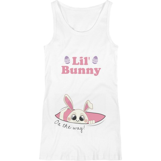 Lil' Bunny Coming Maternity Tank