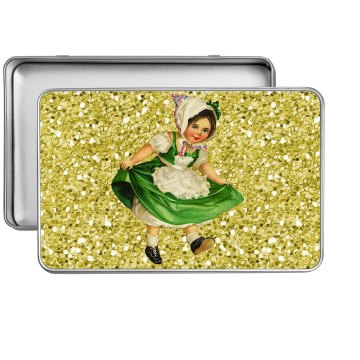 Little irish girl in green dress bright gold moondreams music - Small tin girl ...