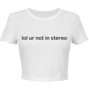 """""""lol ur not in stereo"""" Cropped Tee"""