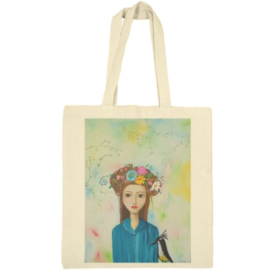 Long hair girl with flowers and bird tote