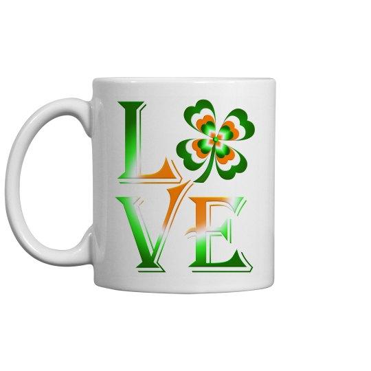 Love Ireland Clover, White Coffee Mug