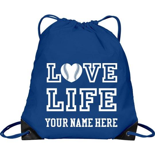 Love LIFE baseball drawstring bag with student's name