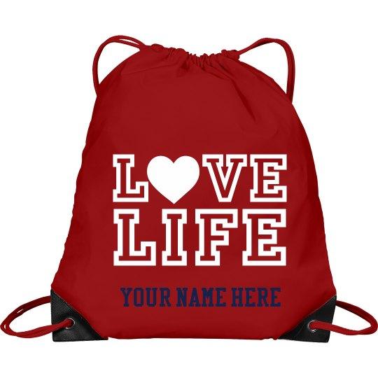 Love LIFE student name drawstring bag
