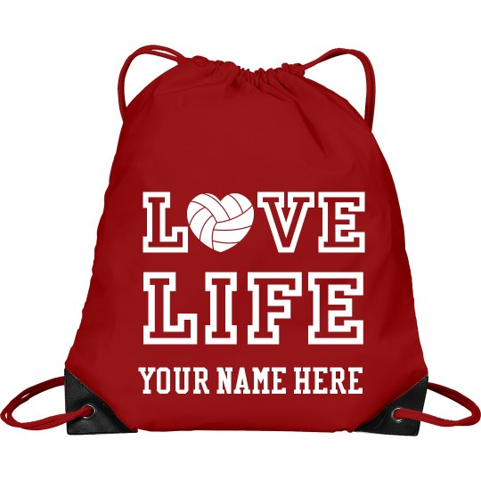 Love LIFE volleyball drawstring bag with student's name