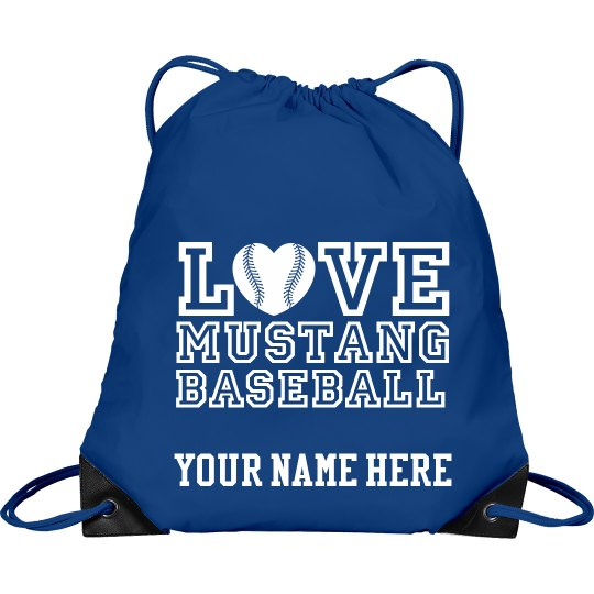 Love mustang baseball drawstring bag with name