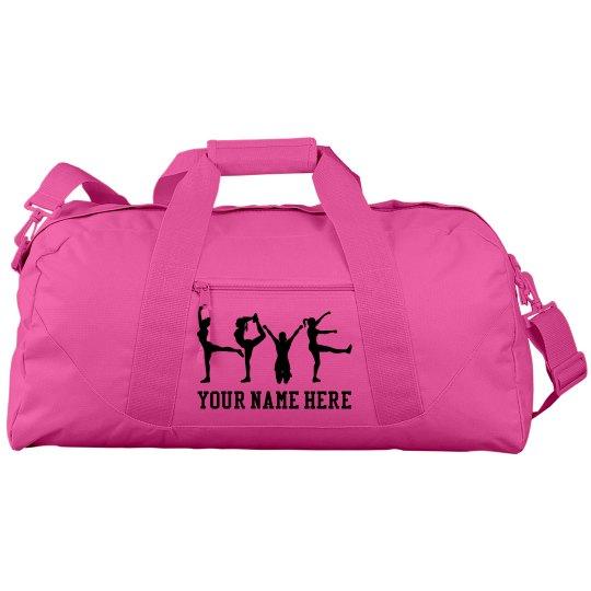 Love Pose Pink Cheer Bag With Custom Name