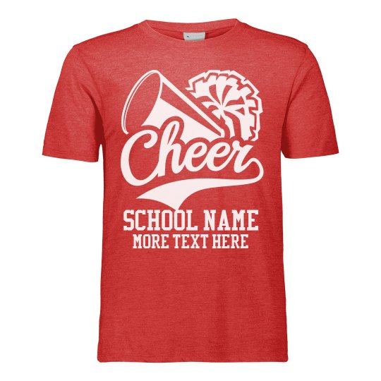 Made-To-Order School Name Custom Text Cheer T-Shirt