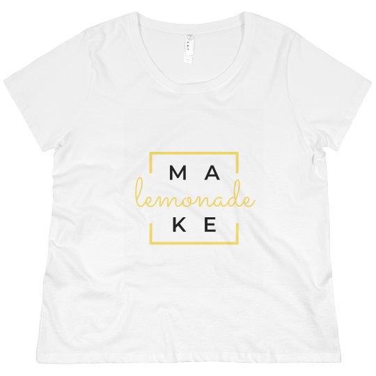 Make Lemonade Crew Neck T-Shirt Plus Size (White)
