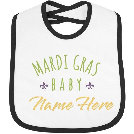 Mardi Gras Baby Name Bib