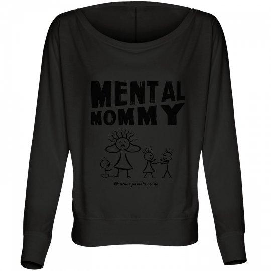 Mental Mommy Off-the-Shoulder Sweatshirt (black)