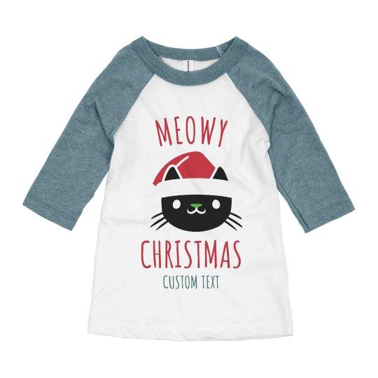 Meowy Christmas Custom Kids Raglan
