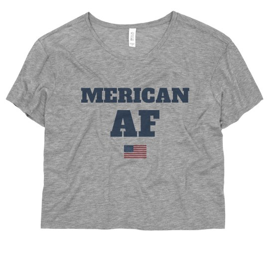 Merican AF USA Crop Tee July 4th