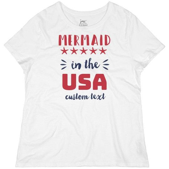 Mermaid in the USA Custom 4th of July Plus Size Tee