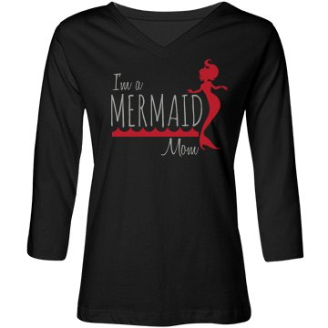 Mermaid Mom-Red/Silver