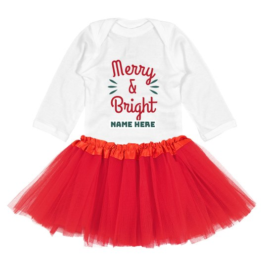 Merry & Bright Cute Custom Christmas Bodysuit with Tutu