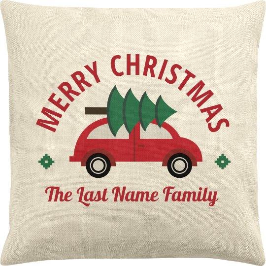 Merry Christmas Custom Family Tree Pillowcase