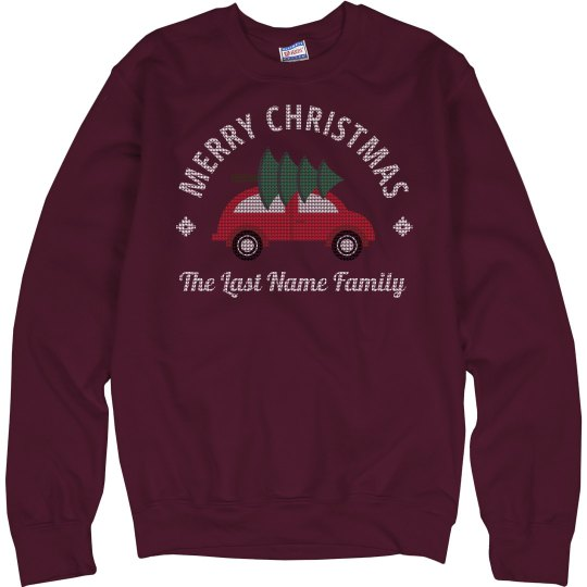 Merry Christmas Family Knit Pattern Sweaters