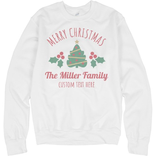Merry Christmas Knit Pattern Custom Ugly Sweaters
