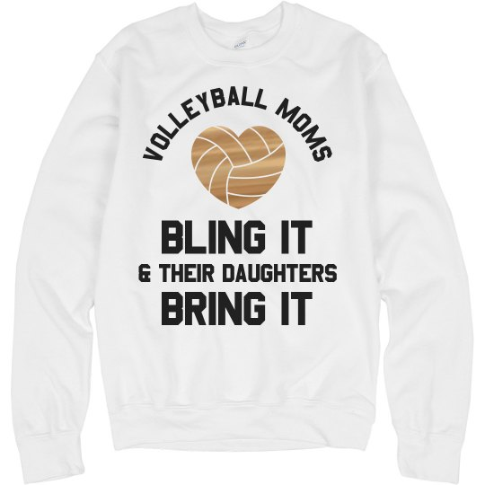 Metallic Custom Volleyball Mom Text