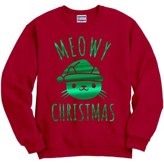 Metallic Green Meowy Christmas