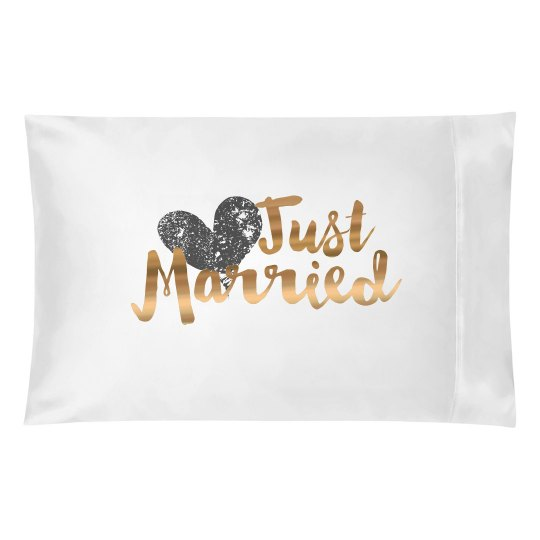 Metallic Just Married Pillowcase