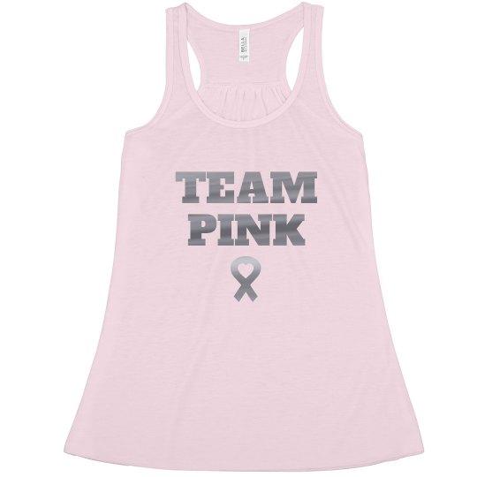 Metallic Team Pink Breast Cancer Racerback