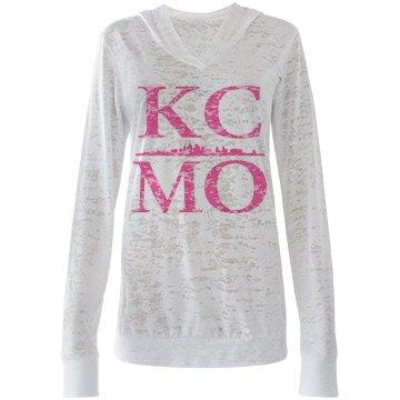 Misses KCMO Burnout Skyline Hooded T