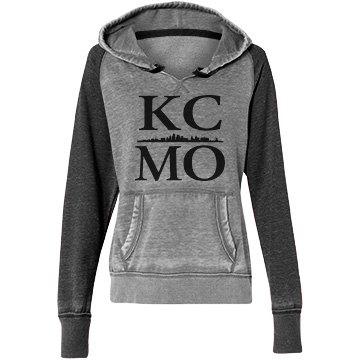 Misses Raglan KCMO Skyline Hoodie