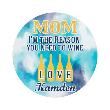 Mom Drink Wine Button from kids