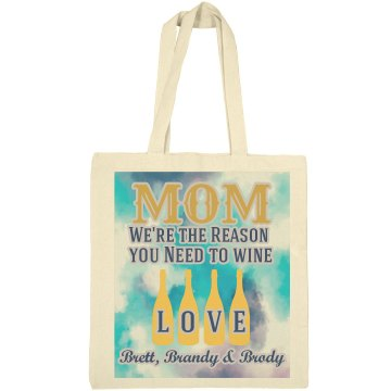 Mom Wine Tote Bag From Kids