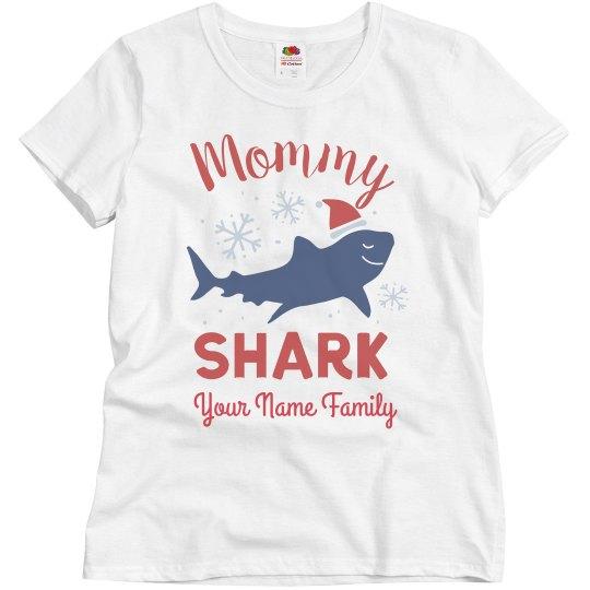 Mommy Shark Matching Family Christmas Custom Shirts