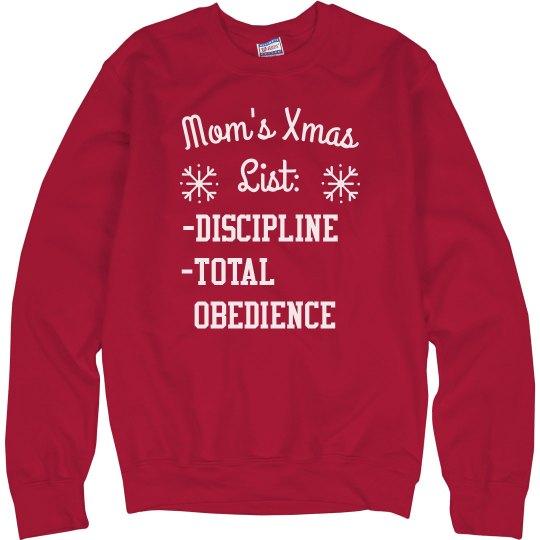 Mom's Christmas List Funny Sweater