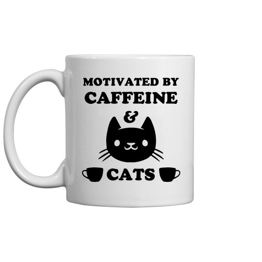 Motivated By Caffeine And Cats Mug