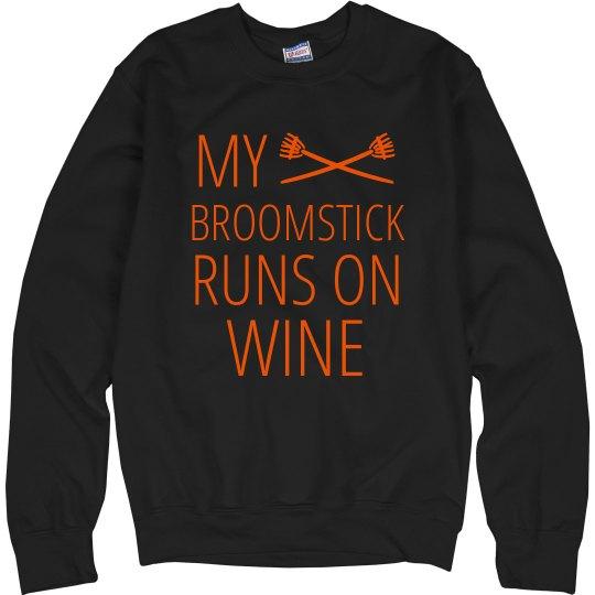 My Broomstick Runs On Wine Funny Sweater