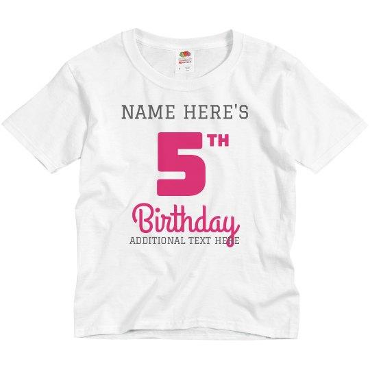 Name 5th Birthday Party Tee