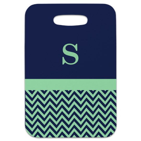 Navy and Mint Luggage Tag