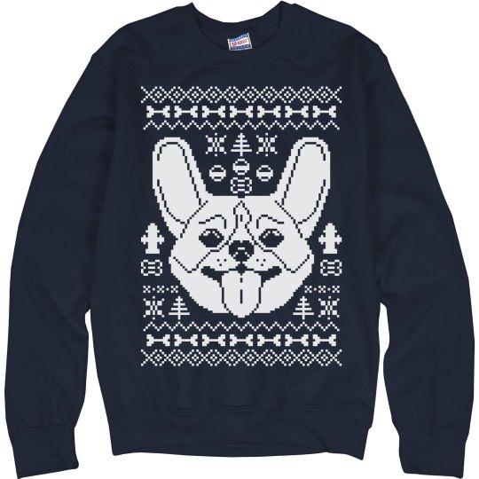 Navy Corgi Ugly Sweater