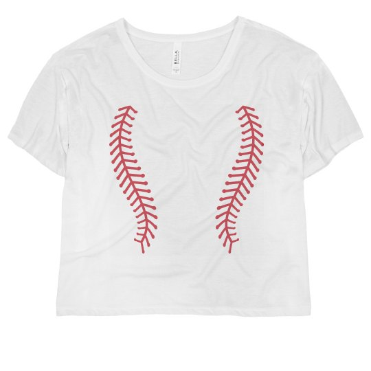 Neon Softball Laces Crop