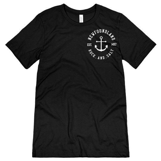 Newfoundland Rock and Salt Anchor Tshirt