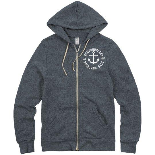 Newfoundland Rock and Salt zip up hoodie