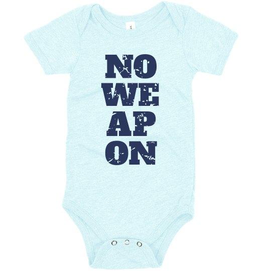 NO WEAPON Shall Prosper Navy Blue Text Infant Bodysuit