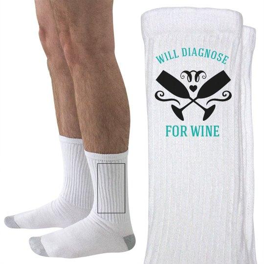 Nurse Wine Diagnosis Socks