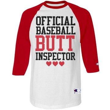 Official Butt Inspector Funny Baseball Shirt