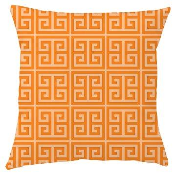 Orange Greek Key Pattern Throw Pillow Cover